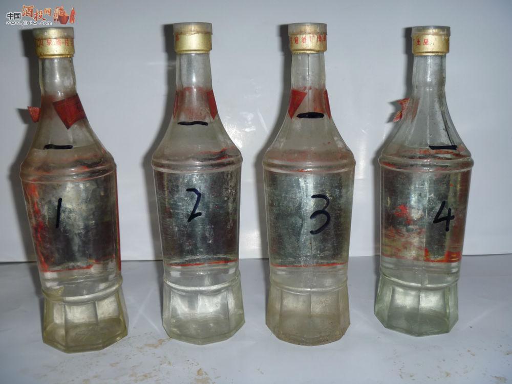 [已售]90年代山东名酒 花冠特曲 4瓶.冠群芳的前身!真正酒曲粮食酒